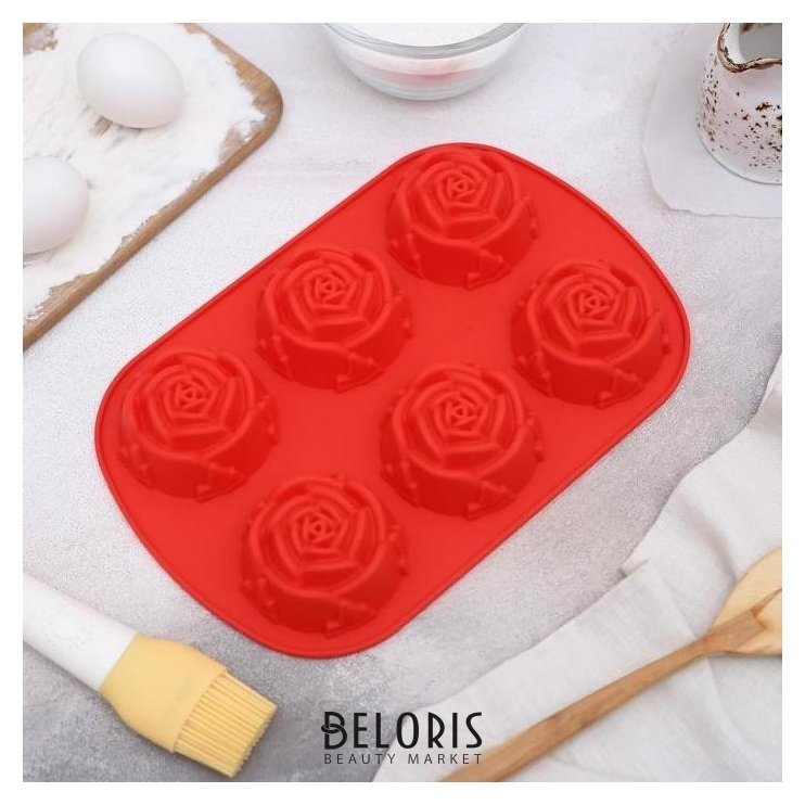 Форма для выпечки «Роза», 26×17,5 см, 6 ячеек Доляна