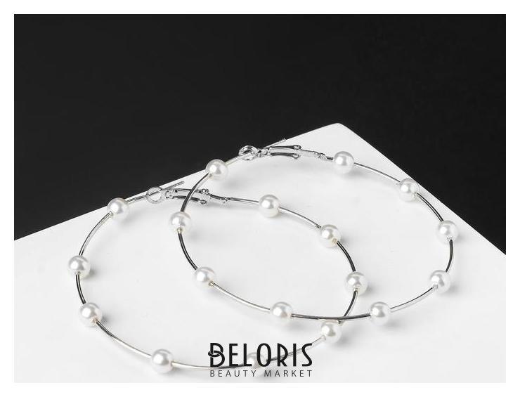 Серьги-кольца Бусинки, шар 6, цвет белый в серебре, d=7 см Queen fair