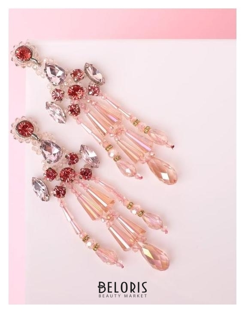 Серьги висячие со стразами Дольче Вита блеск, цвет розовый в серебре Queen fair