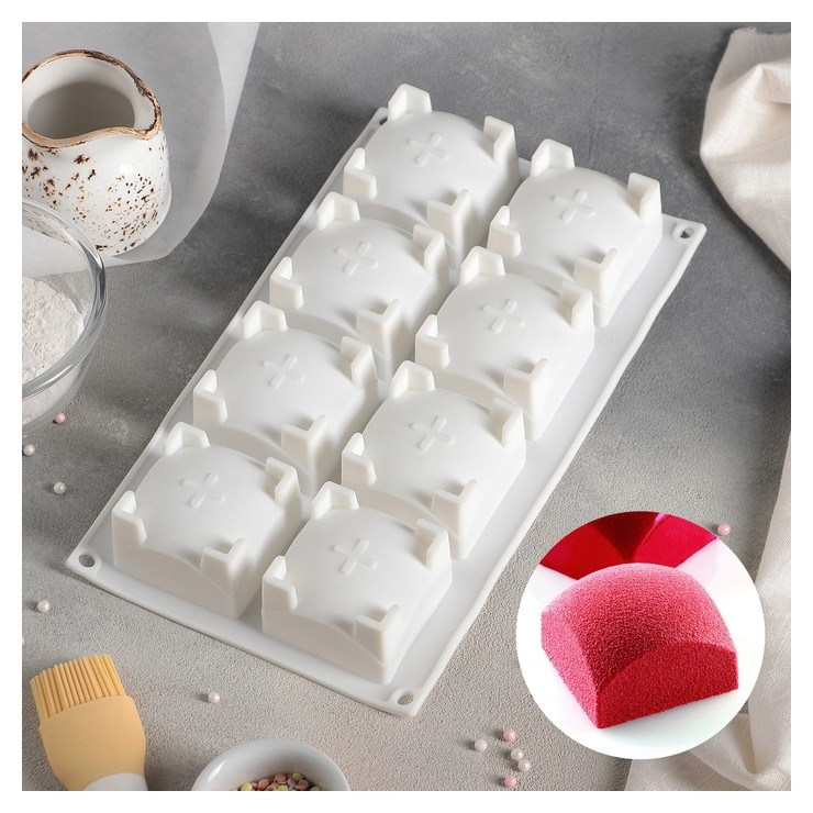 Форма для муссовых десертов и выпечки «Квадро», 29,5×17 см, 8 ячеек (6×6×4 см), цвет белый  Доляна
