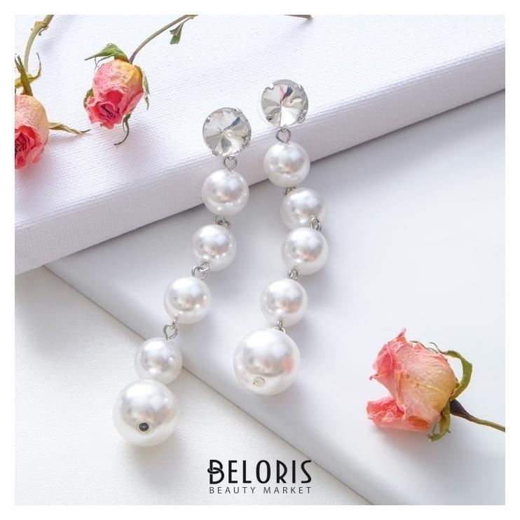 Серьги с жемчугом Дорожка бусин с крупным кристаллом, цвет белый в серебре Queen fair