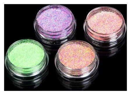 Мармелад для ногтей, 4 баночки, цвет зелёный/жёлтый/розовый/фиолетовый  Queen Fair