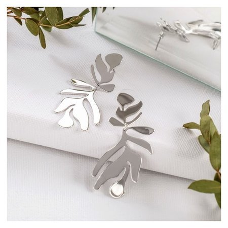Серьги металл Атмосфера пальмовый узор, цвет серебро Queen fair