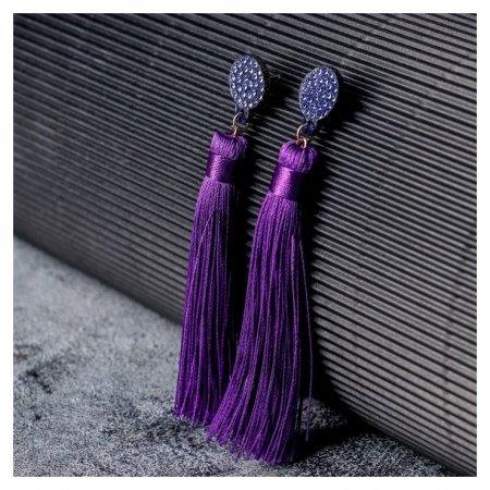 """Серьги """"Кисти"""" гармония, цвет фиолетовый, L кисти 8,5 см  Queen Fair"""