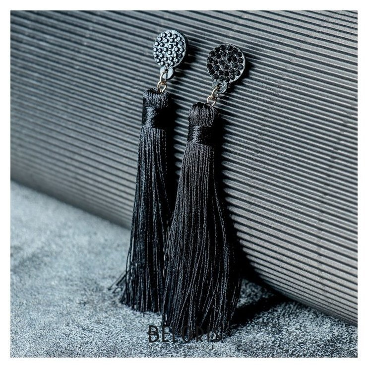 Серьги Кисти гармония, цвет чёрный, L кисти 8,5 см Queen fair