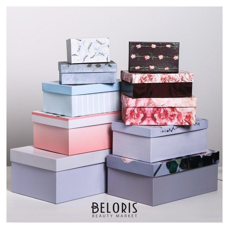 Набор подарочных коробок 10 в 1 «Цветы», 12 х 7 х 4 - 32,5 х 20 х 12,5 см Дарите счастье