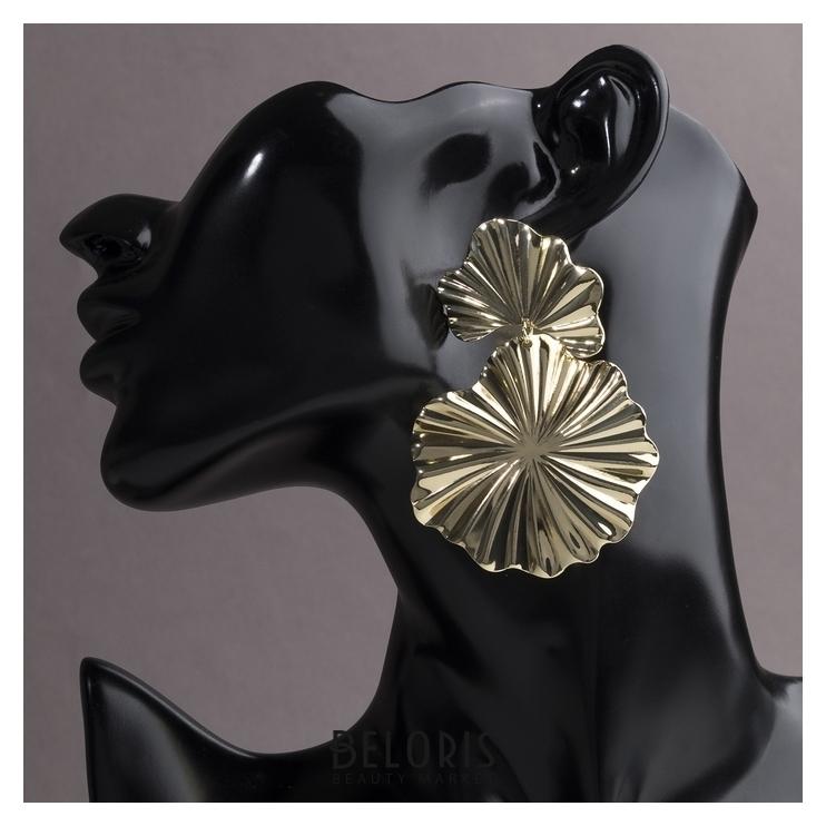 Серьги металл Атмосфера сжатые цветы, цвет золото Queen fair
