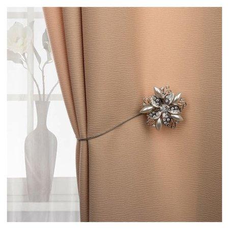 Подхват для штор «Шикарный цветок», D = 6 см, цвет серебряный  Арт узор