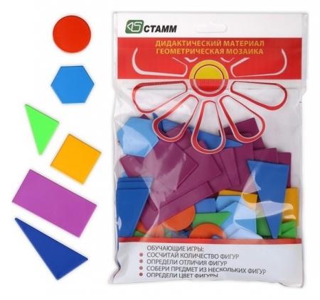 Счётный материал «Геометрическая мозаика», 24 элемента: прямоугольник 3 штуки, квадрат 3 штуки, круг 3 штуки, шестиугольник 3 штуки, треугольник 45° 6 штук, треугольник 30° 6 штук  Стамм