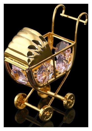Сувенир «Детская коляска», 6х3х6 см, с кристаллами сваровски Swarovski