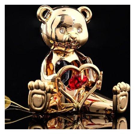 Сувенир «Мишка с сердцем», с кристаллами сваровски Swarovski