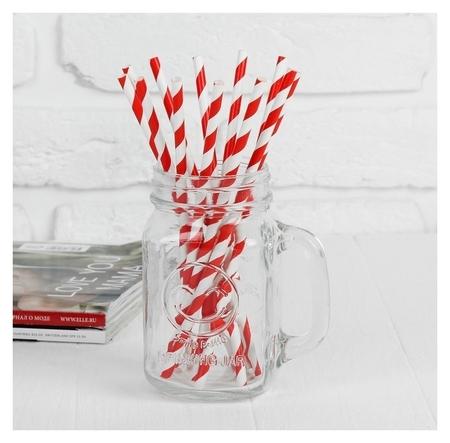 Трубочка для коктейля «Спираль», набор 12 шт., цвет красно-белый  Страна Карнавалия