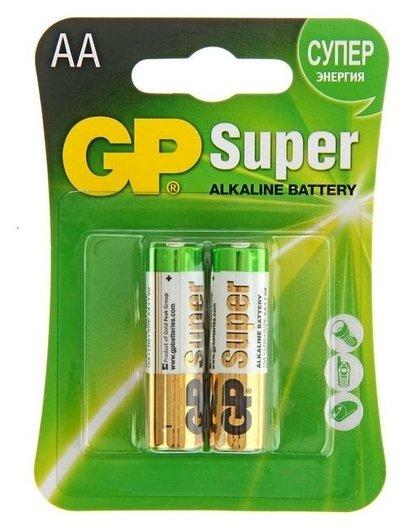 Батарейка алкалиновая GP Super, AA, Lr6-2bl, 1.5в, блистер, 2 шт.  GР
