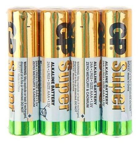 Батарейка алкалиновая GP Super, Aaa, Lr03-4s, 1.5в, спайка, 4 шт.  GР