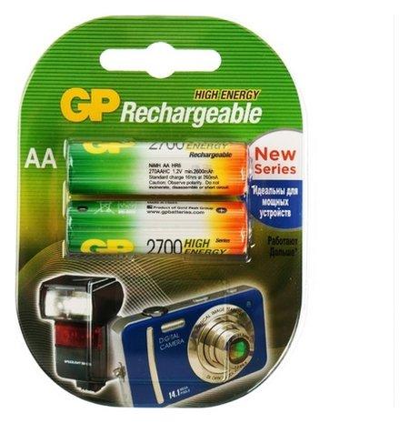 Аккумулятор GP, Ni-mh, AA, Hr6-2bl, 1.2в, 2700 мач, блистер, 2 шт.  GР