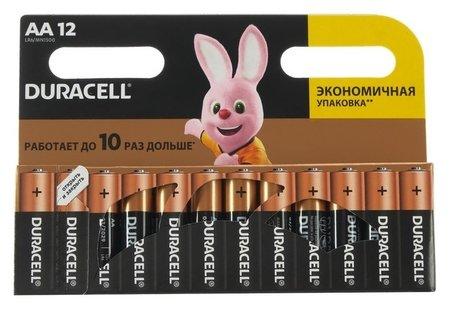 Алкалиновая батарейка Duracell, AA, Lr6, блистер, 12 шт.  Duracell