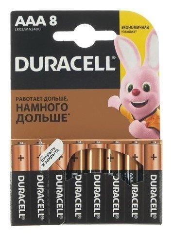Батарейка алкалиновая Duracell Basic, Aaa, Lr03-8bl, 1.5в, блистер, 8 шт.  Duracell