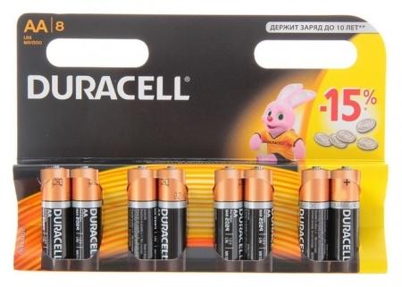 Батарейка алкалиновая Duracell Basic, AA, Lr6-8bl, 1.5в, блистер, 8 шт.  Duracell
