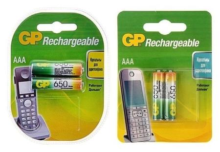 Аккумулятор GP, Ni-mh, Aaa, Hr03-2bl, 1.2в, 650 мач, блистер, 2 шт.  GР