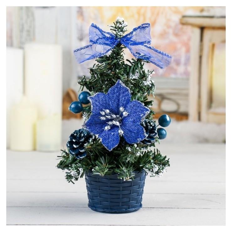 Ёлка декор синий со снегом 20 см, D нижнего яруса 12 см Зимнее волшебство