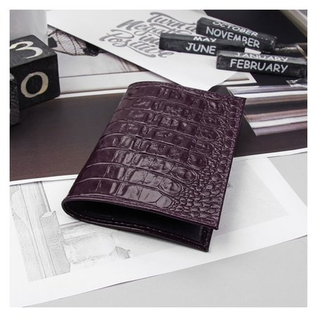 Обложка для паспорта, кайман, цвет фиолетовый  Cayman