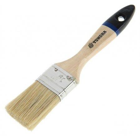 """Кисть плоская Tundra, натуральная щетина, деревянная ручка, 1.5"""", 38 мм  Tundra"""