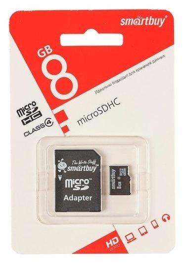 Карта памяти Smartbuy Microsd, 8 Гб, Sdhc, класс 4, с адаптером SD Smartbuy