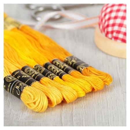 Набор ниток мулине «Цветик-семицветик», 10 ± 1 м, 7 шт, цвет жёлтый спектр  ПНК им. Кирова