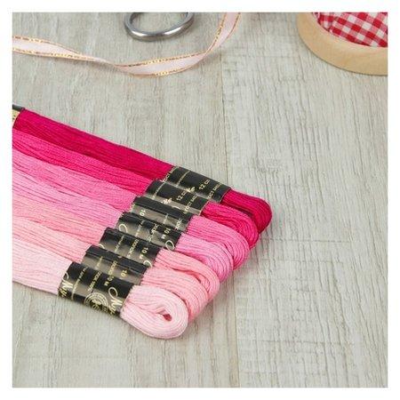 Набор ниток мулине «Цветик-семицветик», 10 ± 1 м, 7 шт, цвет розовый спектр  ПНК им. Кирова