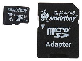 Карта памяти Smartbuy Microsd, 16 Гб, Sdhc, класс 10, с адаптером SD  Smartbuy