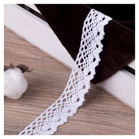 Кружево вязаное, 25 мм × 15 ± 1 м, цвет белый  Арт узор