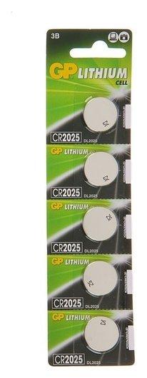 Батарейка литиевая GP, Cr2025-5bl, 3В, блистер, 5 шт.  GР