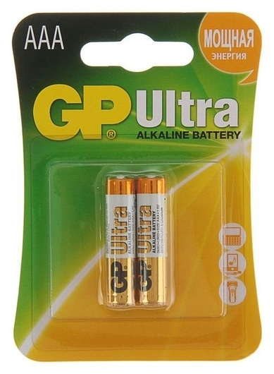Батарейка алкалиновая GP Ultra, Aaa, Lr03-2bl, 1.5в, блистер, 2 шт.  GР