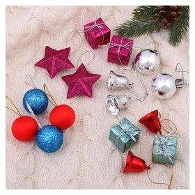 """Набор украшений пластик 16 шт """"Карнавал"""" (6 шаров,4 подарка,2 звезды,4 колокольчика)"""