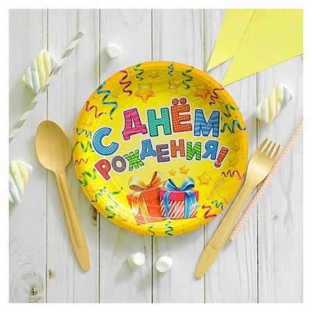 Набор бумажных тарелок «С днём рождения», 18 см, 6 шт.  Страна Карнавалия