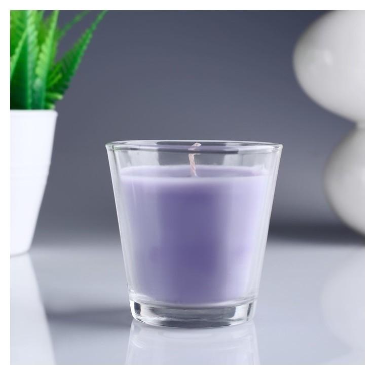 Свеча ароматизированная в стакане Лаванда  Омский свечной завод