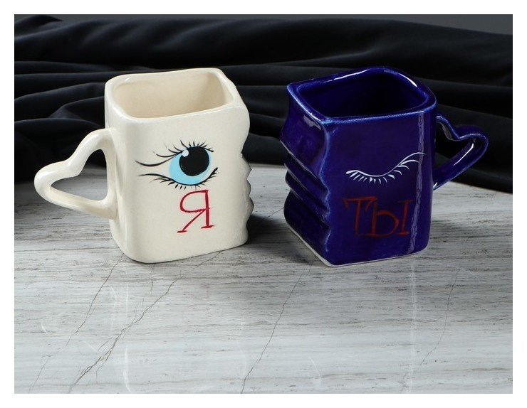 """Набор чашек """"Поцелуйчик ты и я"""", 0.3 л  Керамика ручной работы"""