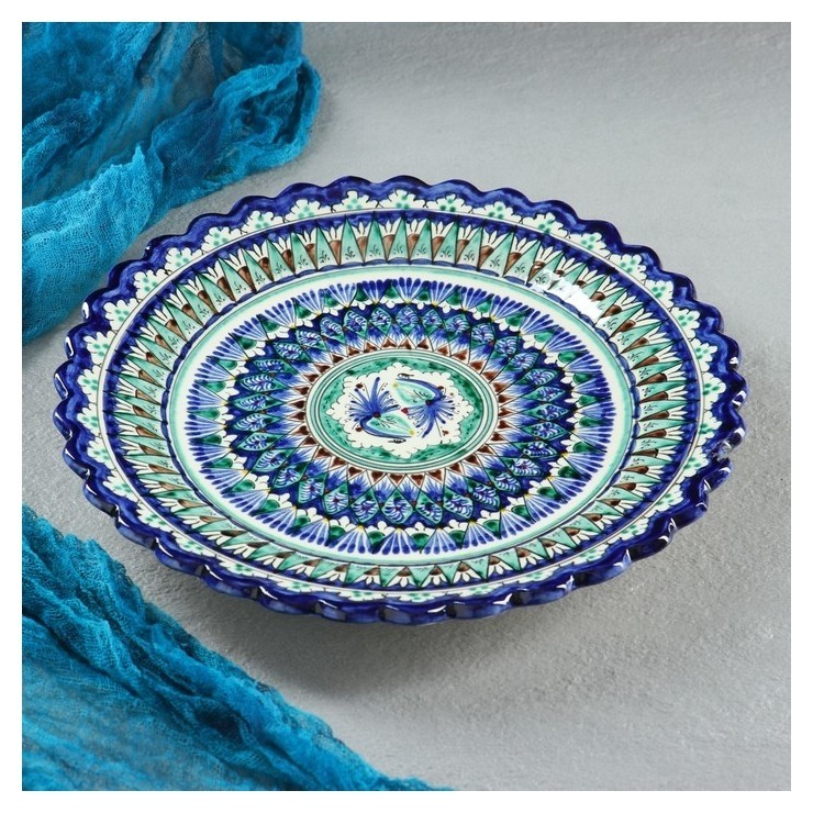 Тарелка плоская, рифленая 25 см Риштанская керамика