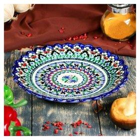 Тарелка плоская, рифленая 22 см  Риштанская керамика