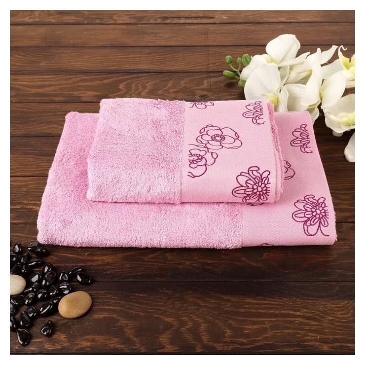 Комплект махровых полотенец в коробке Fiesta Exclusive, размер 70х140 см, 50х90 см, цвет черника, бамбук  Fiesta
