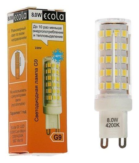 Лампа светодиодная Ecola LED Premium, 8 Вт, G9, 4200 K, 360°, 65x19 мм  Ecola