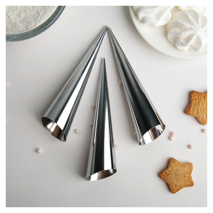 Набор форм для круассанов и трубочек 12х3,5 см, 3 шт  Доляна