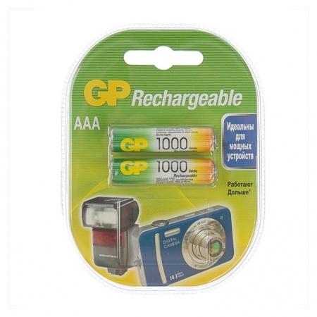 Аккумулятор GP, Ni-mh, Aaa, Hr03-2bl, 1.2в, 1000 мач, блистер, 2 шт.  GР