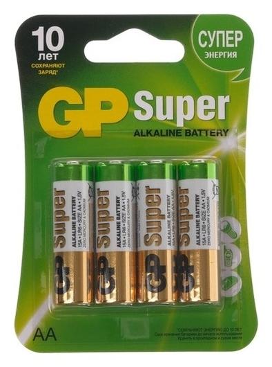 Батарейка алкалиновая GP Super, AA, Lr6-4bl, 1.5в, блистер, 4 шт.  GР