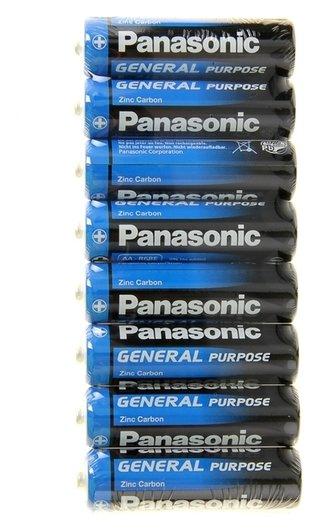 Батарейка солевая Panasonic General Purpose, AA, R6-8s, 1.5в, спайка, 8 шт.  Panasonic