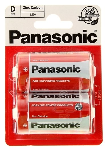 Батарейка солевая Panasonic Zinc Carbon, D, R20-2bl, 1.5в, блистер, 2 шт.  Panasonic