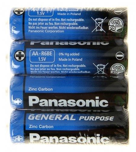 Батарейка солевая Panasonic General Purpose, AA, R6-4s, 1.5в, спайка, 4 шт.  Panasonic