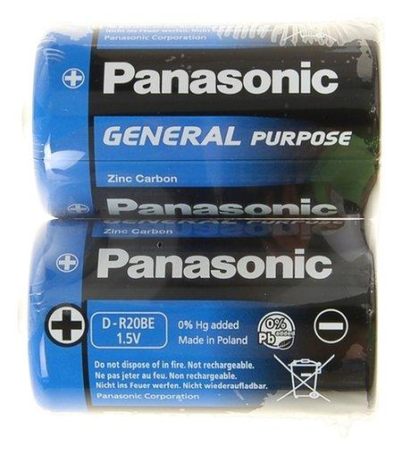 Батарейка солевая Panasonic General Purpose, D, R20-2s, 1.5в, спайка, 2 шт.  Panasonic