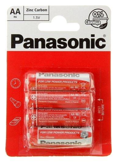 Батарейка солевая Panasonic Zinc Carbon, AA, R6-4bl, 1.5в, блистер, 4 шт  Panasonic