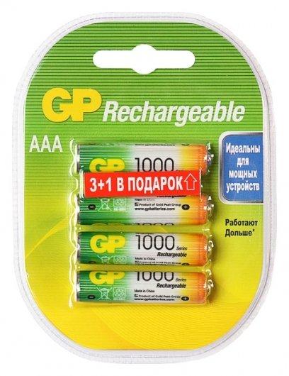 Аккумулятор GP, Ni-mh, Aaa, Hr03-4bl, 1.2в, 1000 мач, блистер, 3+1 шт.  GР